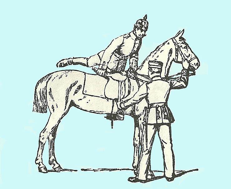 German officer mounting