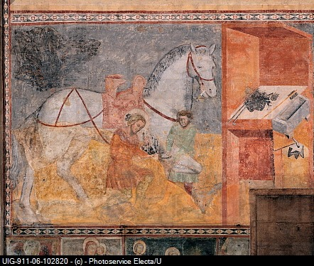 St Eligius or St Eloy Shoeing the Horse, by Master of the Tree of Life, 14th Century, fresco
